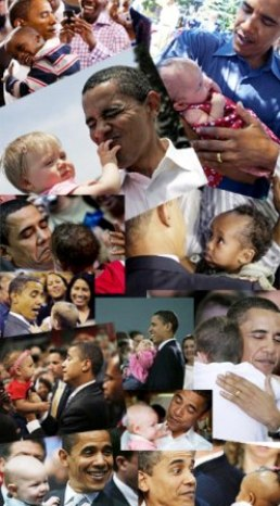 Obama with babies